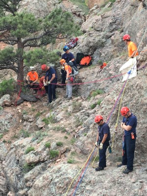 Members of Larimer County Search and Rescue work alongside other area first responders during a mission in Horsetooth Mountain Park in 2016.