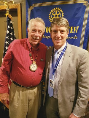 The Bull Shoals-Lakeview Rotary Club recently had past member/guest Kelley Linck speak at their meeting. Linck is the chief of legislative and governmental affairs for Arkansas DHS. He is shown here with Rotarian of the Day Bill Self (left).
