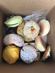 A box of Italian cookies from Oriens Café in Greece.