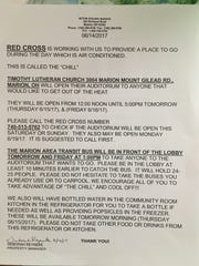 A notice from Seton Square Marion's management, seen on Thursday, June 15, 2017, offers suggestions on ways residents can stay cool. The housing community has been without air conditioning since mid-April.