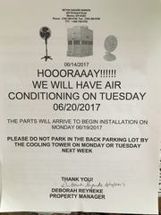 A notice from Seton Square Marion's management, seen on Thursday, June 15, 2017, tells residents the air conditioning will be back on Tuesday, June 20. The housing community has been without air conditioning since mid-April.