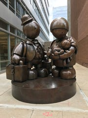 "Tom Otterness' ""Immigrant Family"" is one of the memorable pieces in Sculpture Milwaukee, which comes down after Sunday."