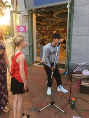 Justin Bieber speaks to a crowd in Montclair in late