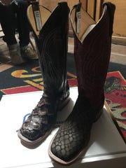 Cowboy boots with fish-scale pattern are new this year