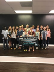 """""""Broadway Ray"""" Soehngen surrounded by cast members at the BCCT Studio located in Brick after presenting a check for the """"Loud & Clear"""" campaign."""