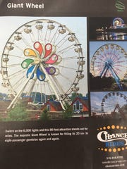 Ferris wheel literature from Tuesday's Green Bay City