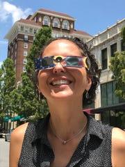 Citizen-Times outdoors writer Karen Chávez tries on