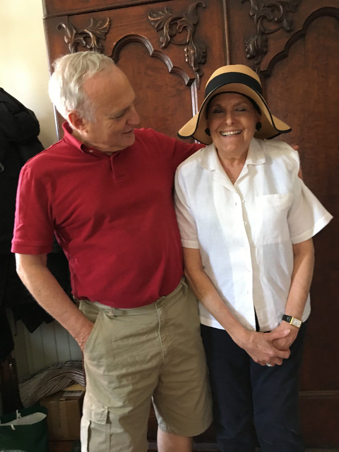 Rabbi David Saperstein and Rabbi Lynne Landsberg at Landsberg's home in Staunton on July 4, 2017. Saperstein served as U.S. Ambassador for International Religious Freedom during President Obama's administration and was the former Director of the Religious Action Center of Reform Judaism in Washington, D.C. On July 4, he spoke at the 55th annual Independence Day Celebration and Naturalization Ceremony at Thomas Jefferson's Monticello and stopped by Landsberg's home for a visit on his way home.
