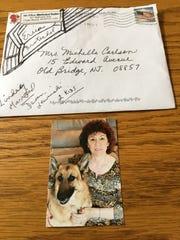 The envelope and photo sent when Ellen Brotschol Noble