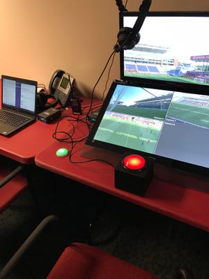 The Video Assistant Referee booth at Toyota Park in Bridgeview Illinois features monitors that display all TV camera angles available on a match broadcast.