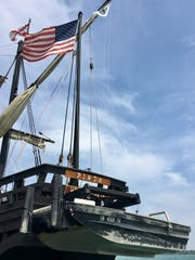 The replica Pinta, a typical caravel trading vessel of the 1400s, is about 20 feet larger than the ship of the same name Christopher Columbus captained. It was docked Aug. 9, 2017, at Bishop Park in Wyandotte.