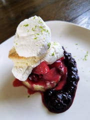 Chef Lewis uses plums in savory dishes and desserts such as this light plum shortcake.