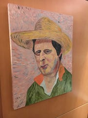 A Van Gogh-style portrait of Mike Leach in his office.