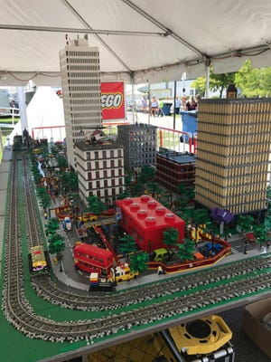 A city created entirely of Lego bricks by the Michigan LEGO Users Group for the Monroe County Fair, July 30, 2017. MichLUG will create a new Lego City display at the Howell Melon Fest.