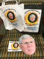 Franklin Mayor Bob Scott's staff decorated totes, pillows and glasses as a gag gift.