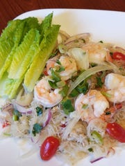Shrimp and glass noodle salad is light, refreshing, and packs a wallop of flavor from Thai chile, fish sauce and lime dressing.