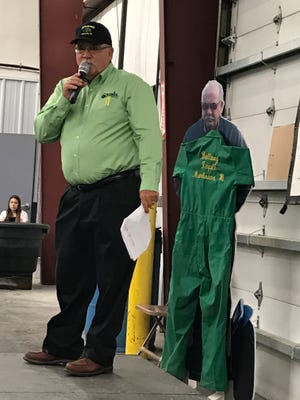 Tom Ballweg talks to the crowd of nearly 400 people who attended the Aug. 26 celebration recognizing 40 years of business for Ballweg Implement.