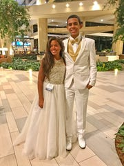Jazmyne Pledger with her brother and escort Jaquan