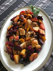 Honey Balsamic Roasted Root Vegetables are a colorful