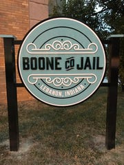 A sign marking the old Boone County Jail in Lebanon,