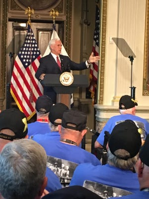 Vice President Pence addresses Vietnam veterans from Indiana at the Indian Treaty Room in the Eisenhower Executive Office Building, Sept. 18, 2017.
