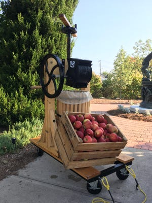 To make your own apple cider, use a small, hand-operated apple grinder and press like this one and several apple varieties. Or, just stop by the Minnetrisa Orchard Shop to get fresh apple cider this fall.