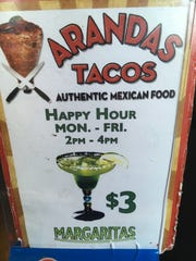 Try the happy hour margaritas at Arandas Tacos in Branson. From 2-4 p.m. Monday through Friday, a margarita is only $3.