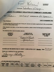A notice Dorothy Funk received Thursday, Oct. 5, 2017, urged her to paint her home. Failure to comply can result in an eviction notice, the park manager said.