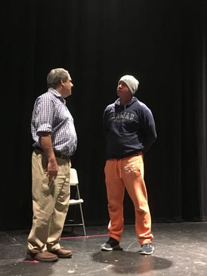 "Richard Curcio (left) of Hammonton and Ray Proietti of Columbus, playing the roles of Matthew Harrison Brady and Henry Drummond, rehearse for the Off Broad Street Players' production of ""Inherit the Wind,"" which opens Nov. 3 at the Levoy Theatre in Millville."
