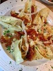 Cappellacci con zucca at Tuscany Grill was magnificent: house-made pasta stuffed with roasted butternut squash, pumpkin and Parmesan, tossed in an amaretto cream, served with prosciutto crisps, shaved Parmesan and toasted almonds.