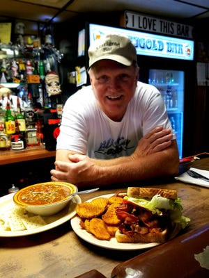 Dave Bush of Marigold continues his Mom's tradition of excellent home cooking. Here he serves a bowl of magnificent vegetable soup and a mile-high BLT on Texas toast with buffalo chips.