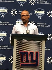 Giants general manager Jerry Reese speaks to the media