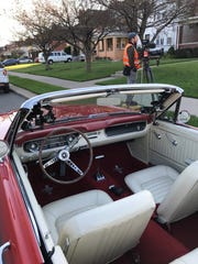 "Interior of George Magro's vintage Ford Mustang during a filming of ""Jay Leno's Garage."""