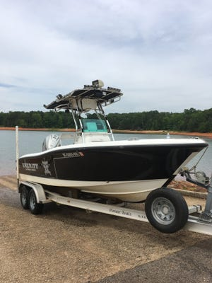 This boat is the one that Devin Hodges, a deputy with the Anderson County Sheriff's Office, was ejected from June 1 when he suffered fatal injuries during a training exercise on Lake Hartwell.