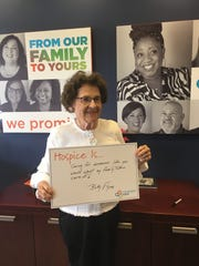 """Covenant Care volunteer Betty Flynn participates in the """"Hospice Is"""" campaign as part of National Hospice and Palliative Care Month."""