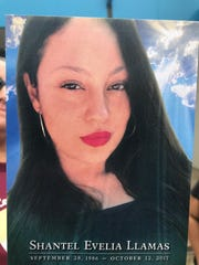 Shantel Evelia Llamas, 30, is pictured here on a card memorializing her after she was allegedly slain by Richard Eugene Simmons, 52, in October 2017.