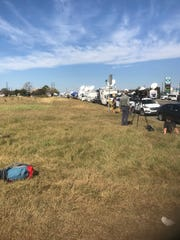 Media trucks at the scene in Sutherland Springs, Texas