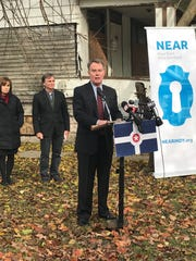 Mayor Joe Hogsett speaks at the ground breaking of the Teachers' Village, designed to increase teacher retention.