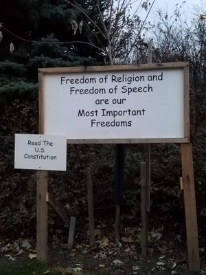 """Two signs on a private property in Brookfield had people inquiring about the intentions of these messages, which said, """"Make war until Allah reigns supreme,"""" and """"read the Quran."""" The sign has now been changed to read """"Freedom of Religion and Freedom of Speech are our Most Important Freedoms"""" and """"Read the U.S. Constitution."""""""