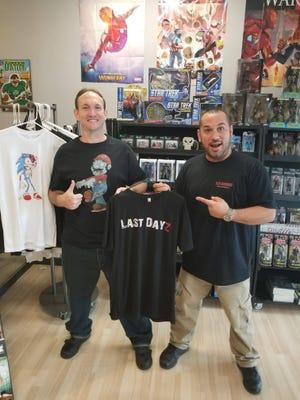 Bradley Whitenhafer (left) presenting his clothing line with Matt Moller, owner of 9.9 Comics in Melbourne.