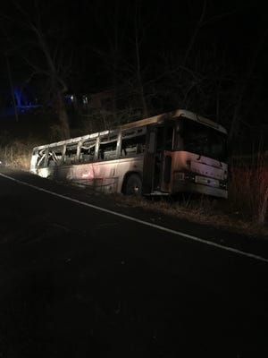 Eleven people were injured while evacuating a burning bus in Robertson County on Wednesday, Nov. 29, 2017.