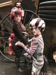 """Helen Delphia as Jellyorum and Mathew Webb as Munkustrap in """"Cats,"""" which can be seen Thursday, Friday and Saturday at the Franklin auditorium."""