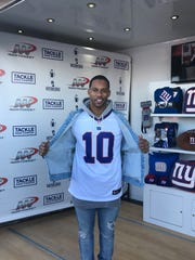Former Giants star wide receiver and Paterson native Victor Cruz expresses his support for former teammate Eli Manning during a meet-and-greet at MetLife Stadium before Sunday's Giants-Cowboys game in East Rutherford, N.J.