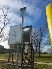 Monroe's first electric car charging station has been in operation in the township library's parking lot since November.