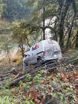 This is where a Redding FedEx driver's van crashed in Happy Camp Monday.