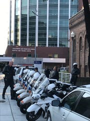 Police escort motorcycles lined up at Zuckerberg San