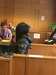 Sharita Maxwell testifies about being robbed and shot last month on Detroit's west side during a preliminary hearing Wednesday, Dec. 13, 2017 in 36th District Court.