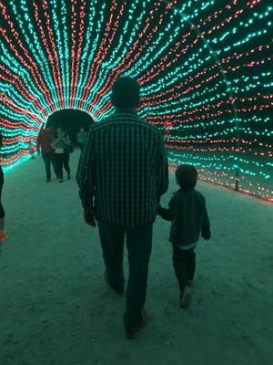 "Arlo and Al -- two ""kids"" marveling at the wonder of WildLights."