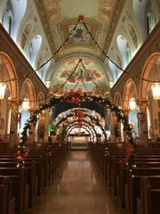 St. Mary Mount Virgin Church in New Brunswick, decorated for the Christmas season.