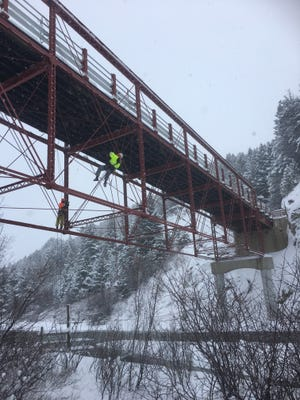 Inspecting damage to the 120-year-old Dearborn River High Bridge was a tricky affair.